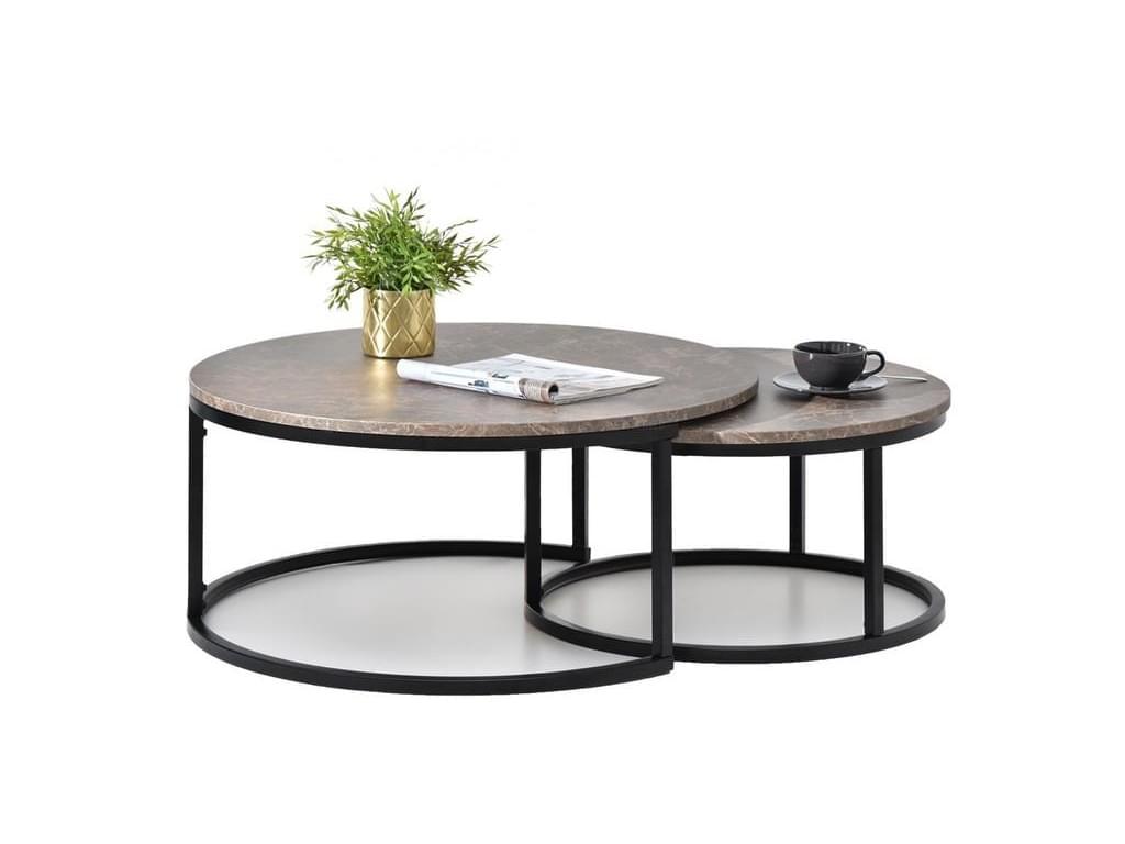 design4life Konferenční stolek 2-Set KORRA hnědý mramor/černá podnož