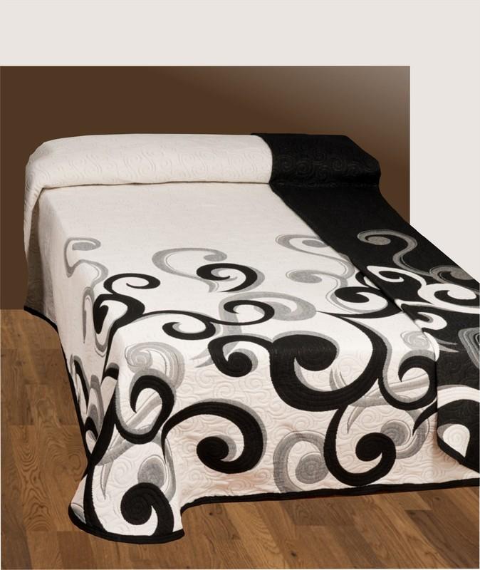 Forbyt  Přehoz na postel s návleky, Gusano, černobílý 160 x 220 cm + 40 x 40 cm