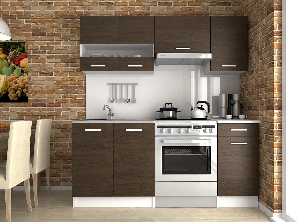 Moderní kuchyňská linka s poličkou a šuplíky v dekoru dub wenge 180 cm F1427