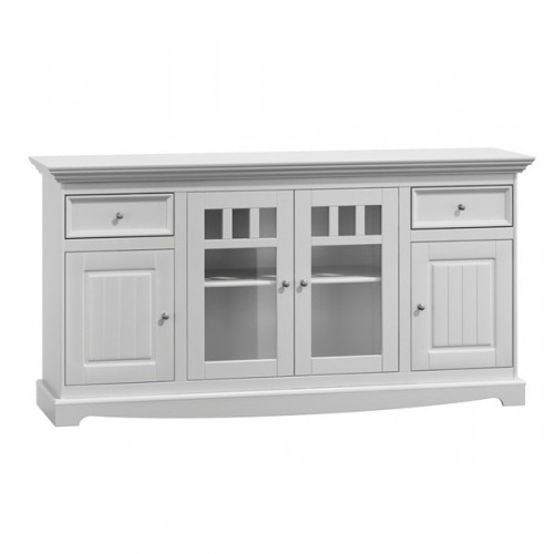 Bílý nábytek Belluno Elegante, 4 dveřová dřevěná komoda, bílá, masiv, borovice 232019113