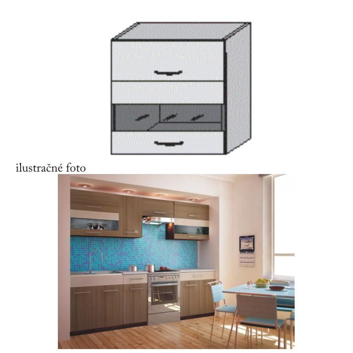 Kuchyňská skříňka, rigoleto dark/light/sklo, JURA NEW I OGW1-80
