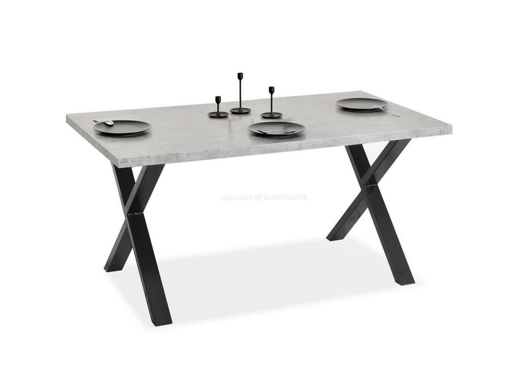 design4life Jídelní stůl LOFARO surový beton, černá