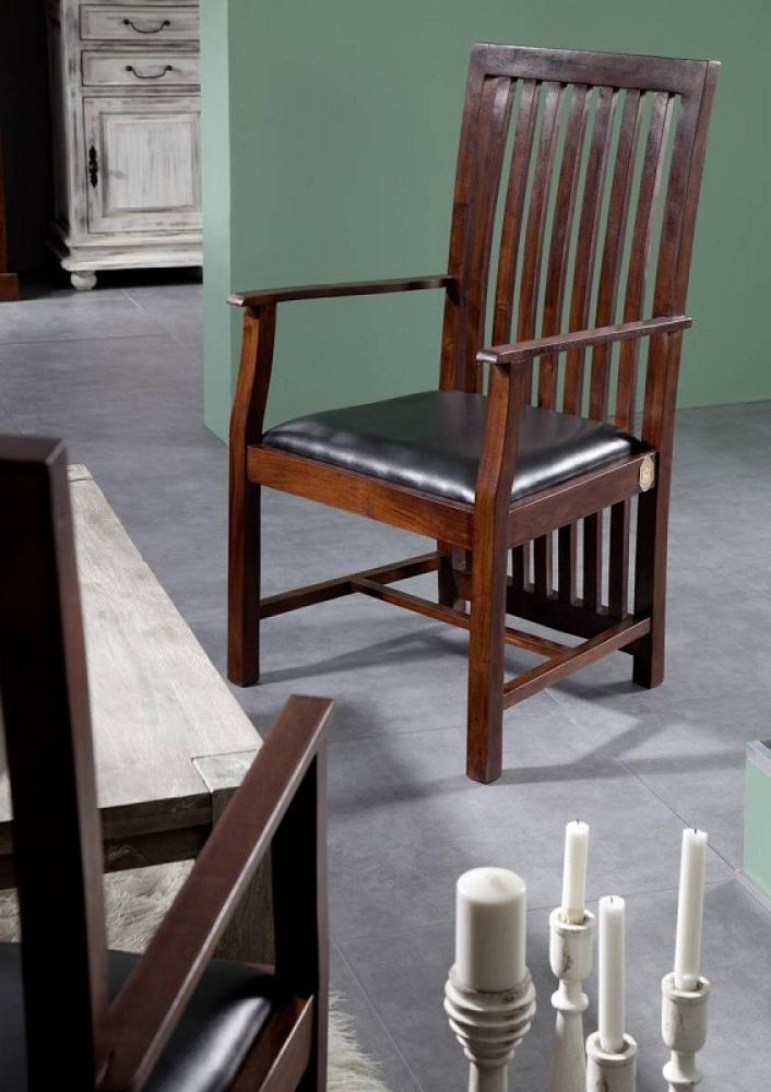 Masiv24 - Koloniální čalouněné křeslo, masivní akátový nábytek, černá ZENO CAMBRIDGE
