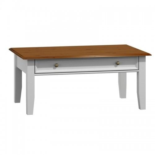 Bílý nábytek Konferenční stolek Belluno Elegante, dekor bílá / ořech, masiv, borovice 281123803