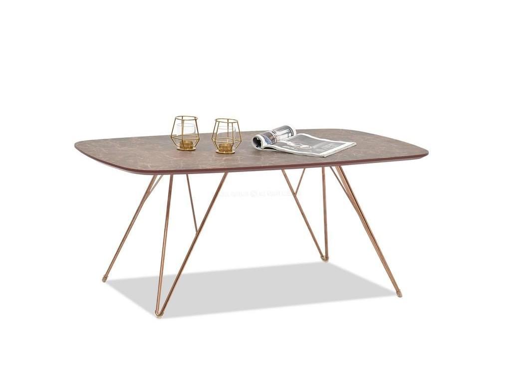 design4life Konferenční stolek STROFI béžová lesk, měď