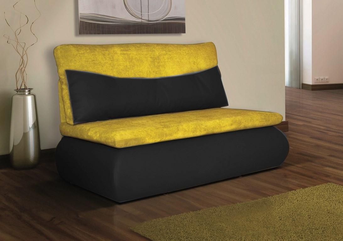 Rozkládací pohovka s úložným prostorem v kombinaci černá ekokůže žlutá látka KN019