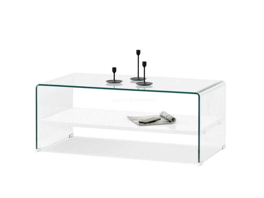 design4life Konferenční stolek TAMON sklo, bílá lesk