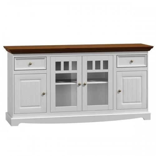 Bílý nábytek Dřevěná komoda Belluno Elegante, 4 dveřová, dekor bílá / ořech, masiv, borovice 232019184