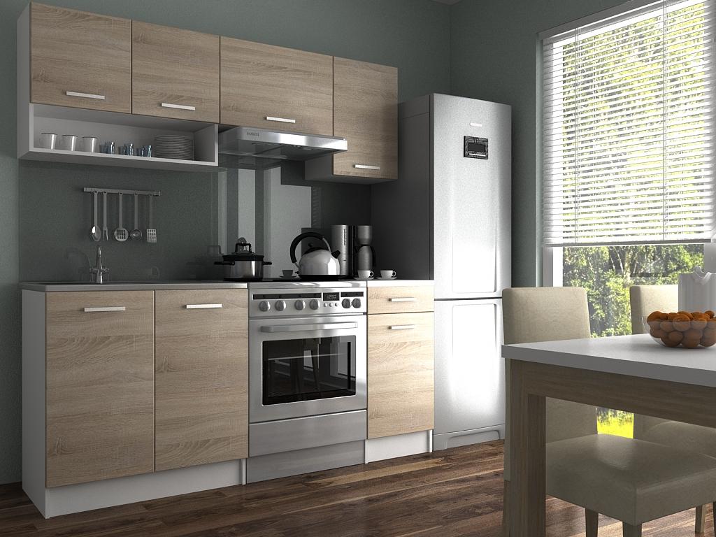 Moderní kuchyňská linka s poličkou v dekoru dub sonoma 180 cm F1427
