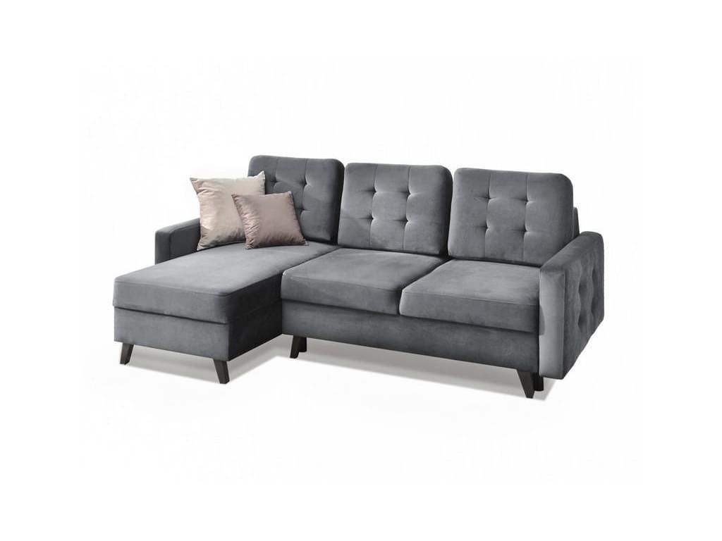 design4life Rozkládací rohová sedačka AMUR, šedý samet