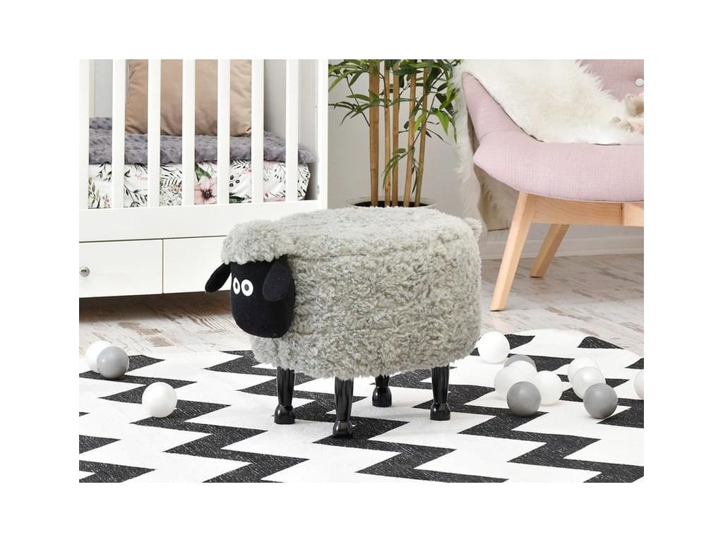 design4life Půvabný dětský taburet-ovečka AGNELLO šedá