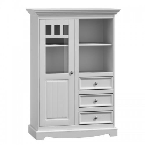 Bílý nábytek Vitrína Belluno Ellegante 2d /3s, bílá, masiv, borovice 232019115