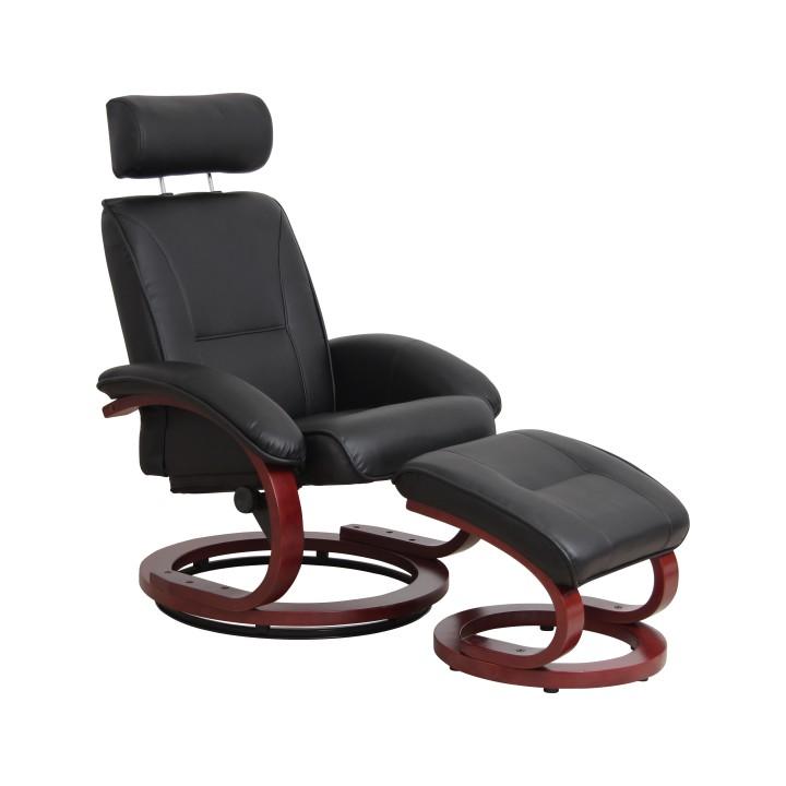 Relaxační křeslo v luxusním provedení textilní kůže černá NIGEL
