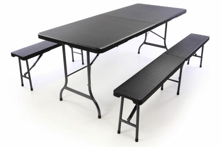 Garthen 39509 Zahradní set lavice a stůl v ratanové optice - černá