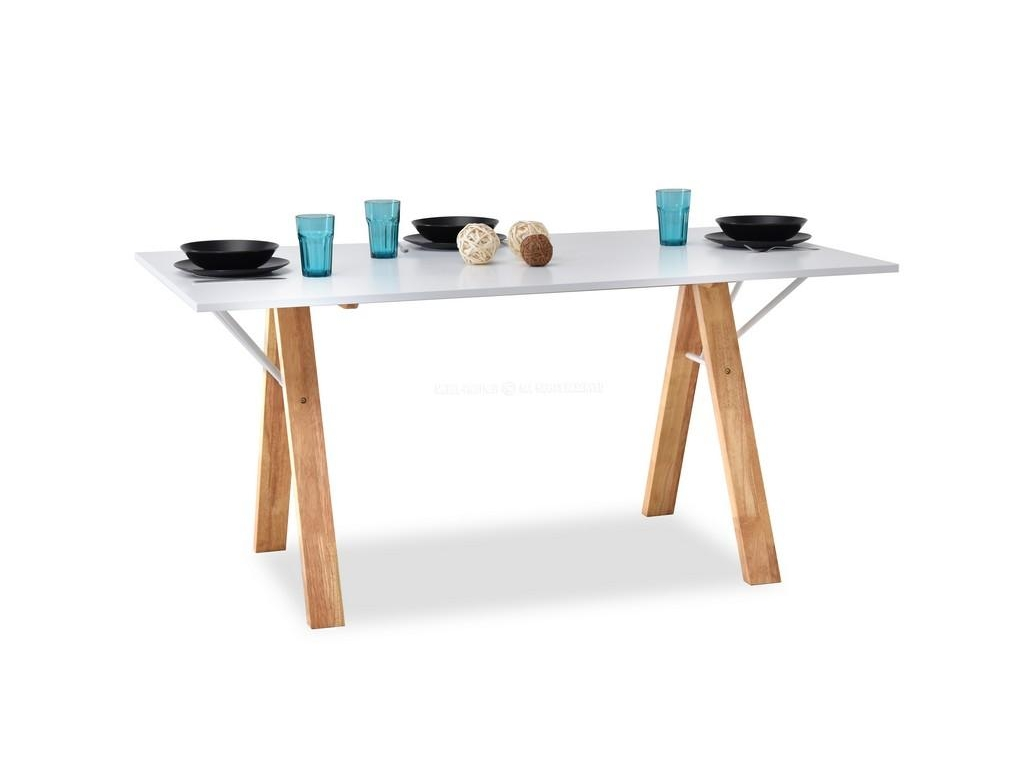 design4life Designový jídelní stůl PAVLIS bílá-dub