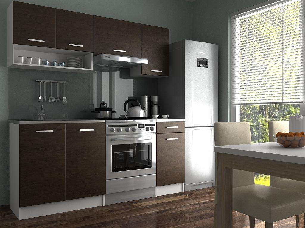 Moderní kuchyňská linka s poličkou v dekoru dub wenge 180 cm F1427