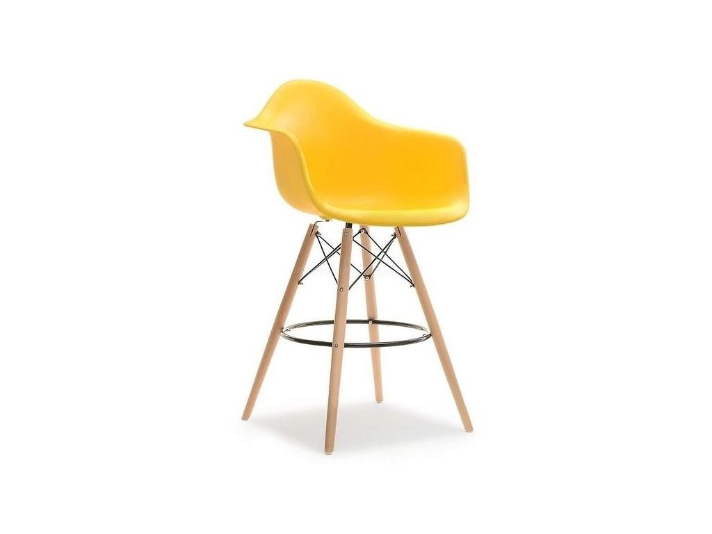 design4life Barové křeslo MERLOTE Žluté - dřevěná podnož