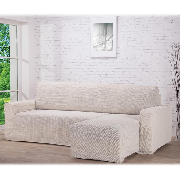 Nueva Textura decoDoma napínací potahy na pohovku s otomanem strečový GLAMOUR smetanové na sedací soupravu s otomanem vpravo 210 - 270 cm