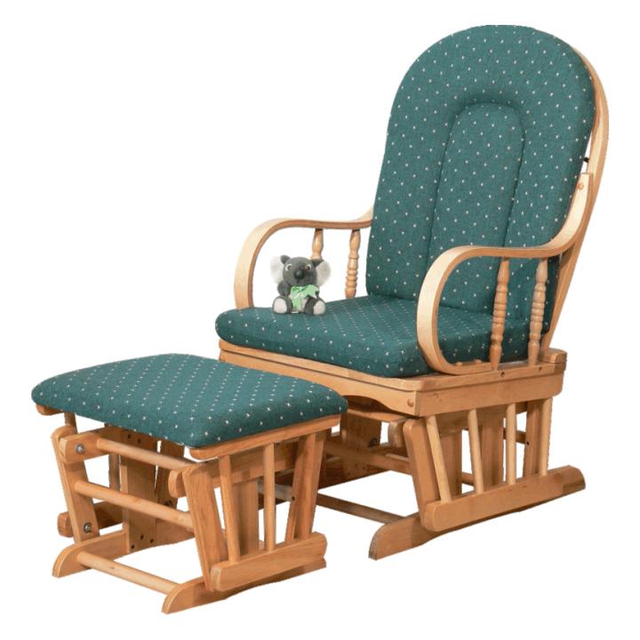 Houpací křeslo v moderním dřevěném provedení zelená RELAX GLIDER 87107