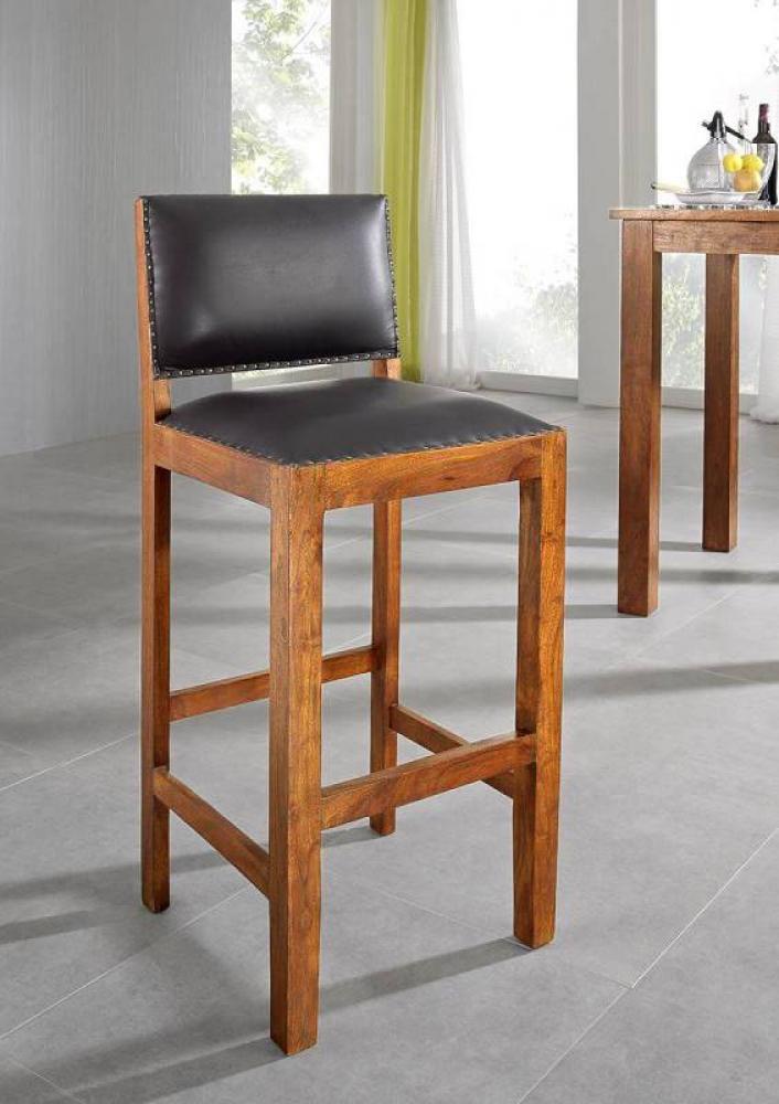Masiv24 - CAMBRIDGE HONEY barová židle pravá kůže, masivní akát, medová