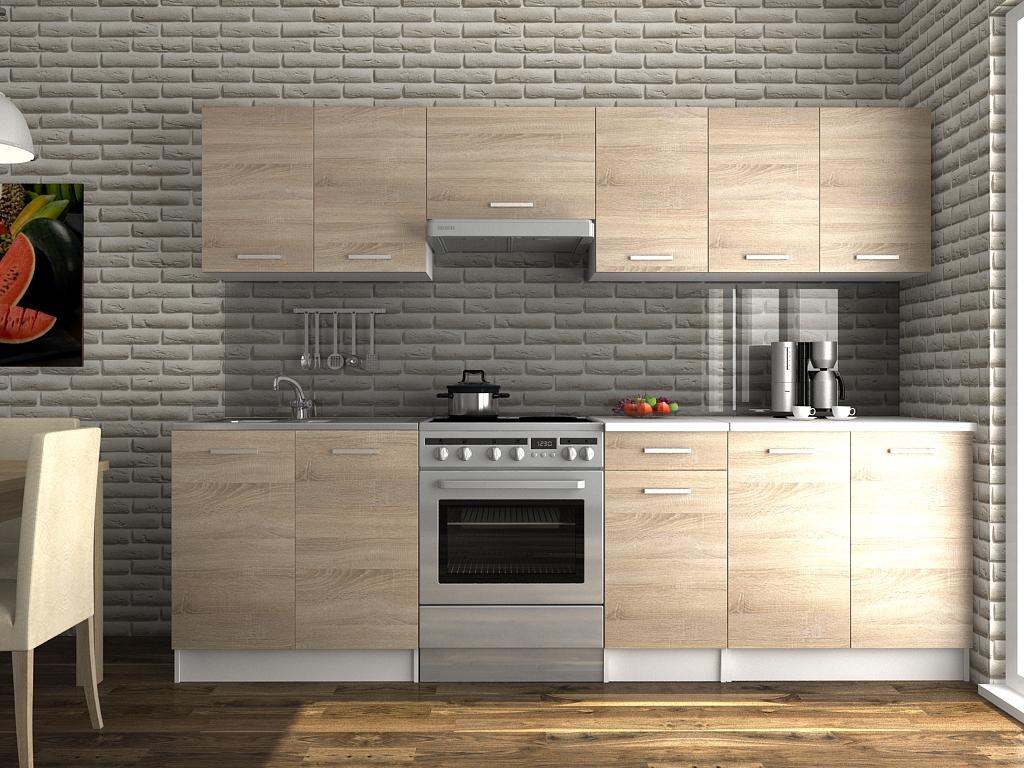 Moderní kuchyňská linka v dekoru dub sonoma 260 cm F1427