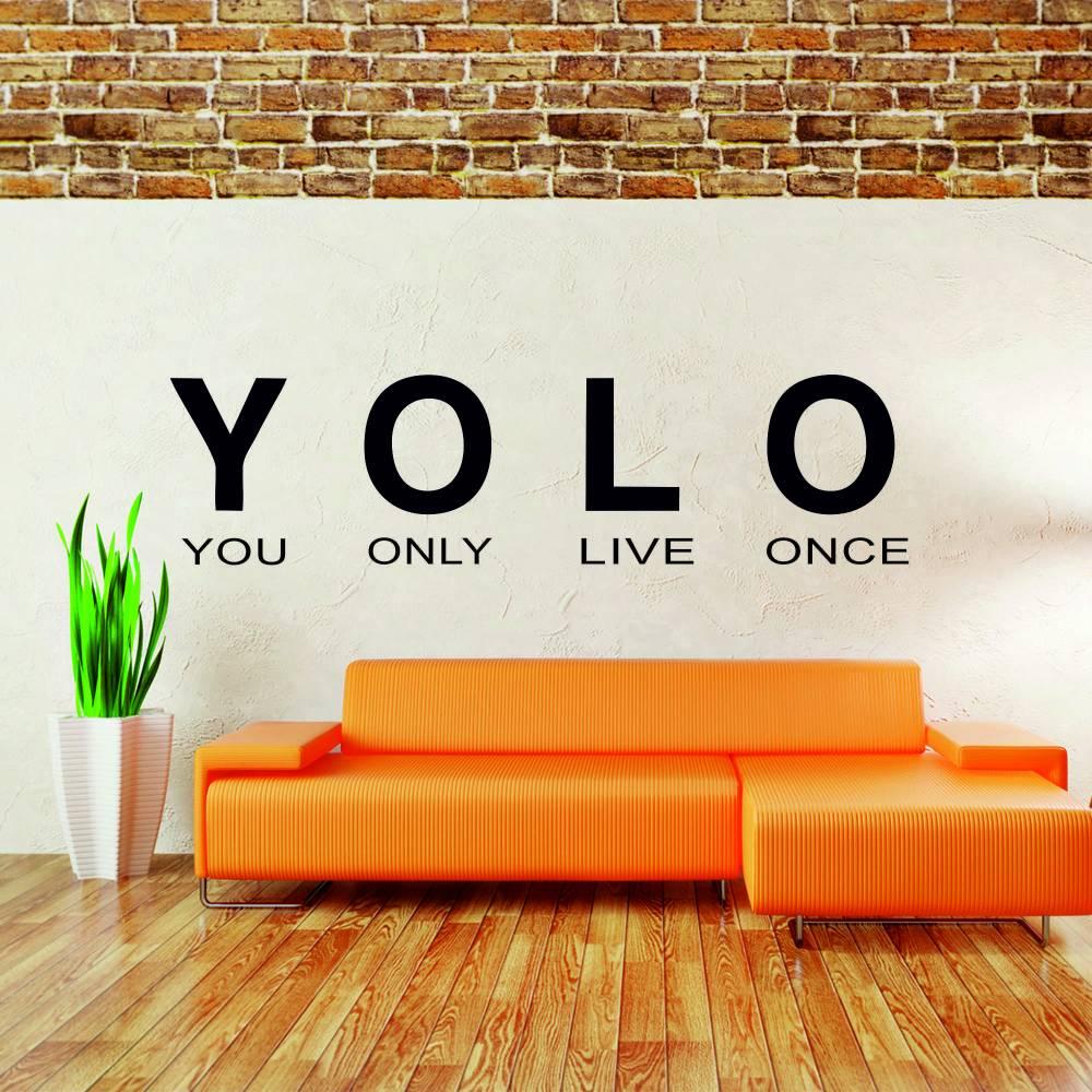 Samolepka na zeď - YOLO nápis (60x16 cm)