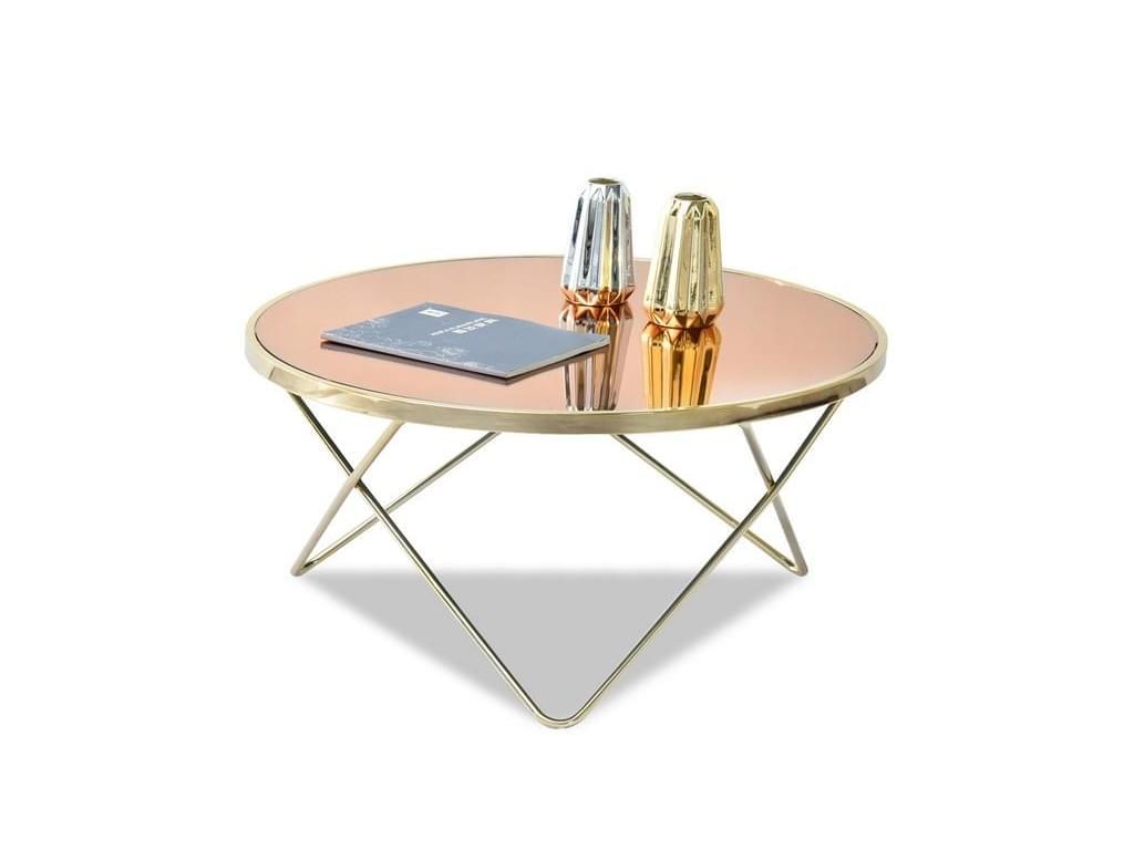 design4life Konferenční stolek LELIMA XL, zlatá/béžová