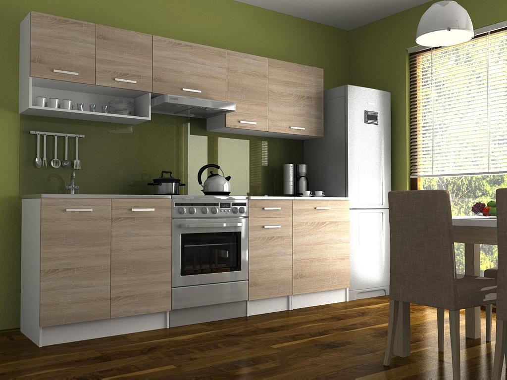 Moderní kuchyňská linka s poličkou v dekoru dub sonoma 240 cm F1427