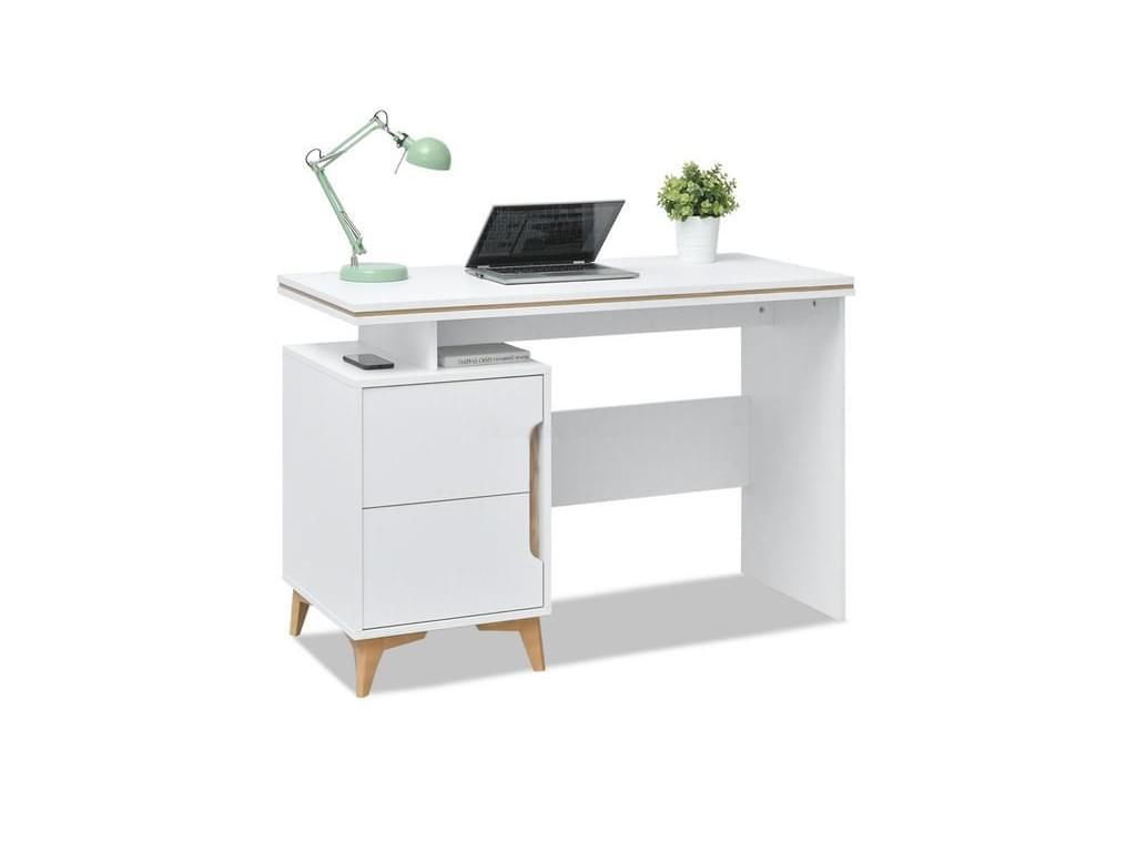design4life Designový psací stůl ADLERO, bílá-jasan