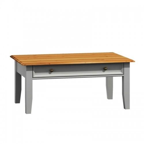 Bílý nábytek Dřevěný konferenční stolek Belluno Elegante, dekor bílá / dub, masiv, borovice 269690684