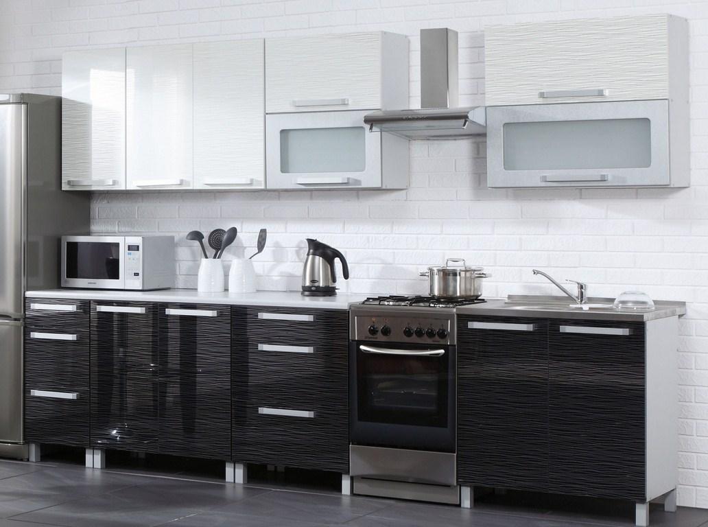 Kuchyňská linka MERLIN 260 cm černá/bílá lesk