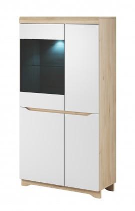 Avallon - Obývací vitrína, nízká, levá (buk ibsen/bílá)