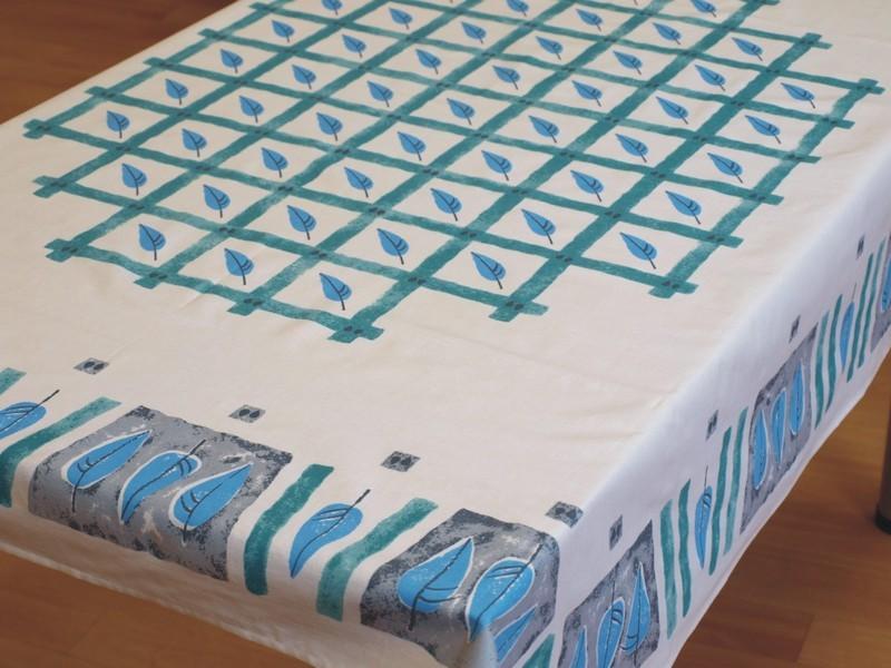 Forbyt  Ubrus bavlněný, Listí modrá pr. 150