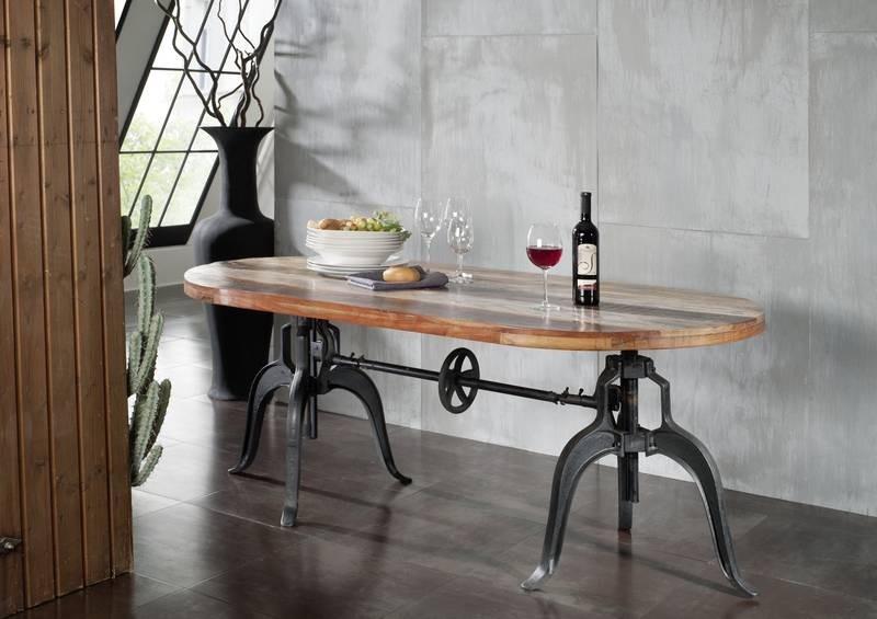 Masiv24 - INDUSTRY stůl, litina a staré dřevo