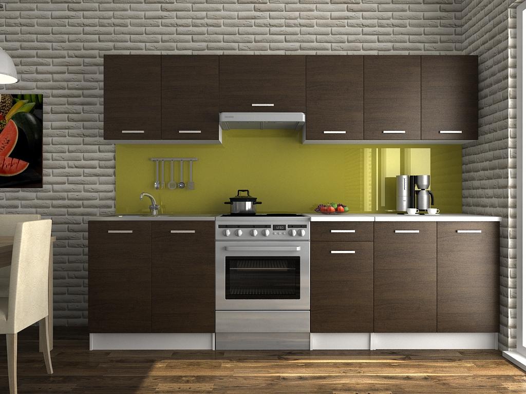 Moderní kuchyňská linka v dekoru dub wenge 260 cm F1427