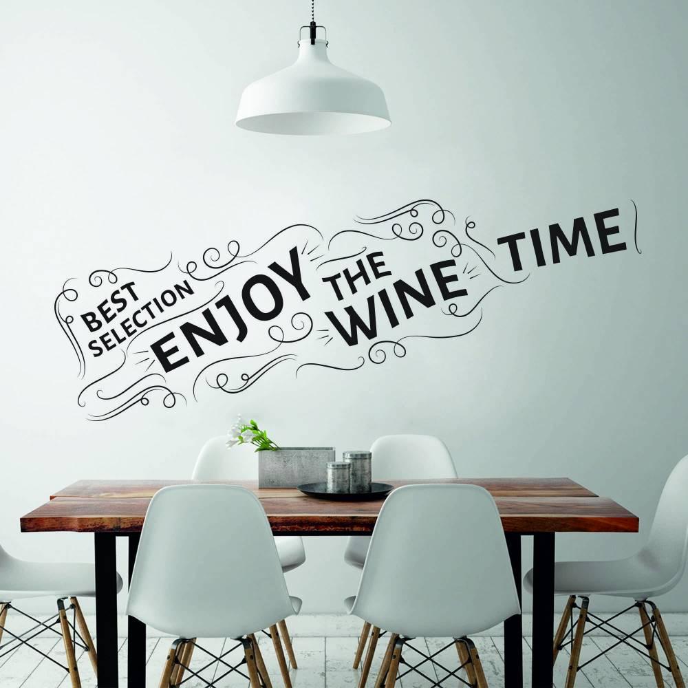Samolepka na zeď - Láhev vína s nápisy (60x16 cm)