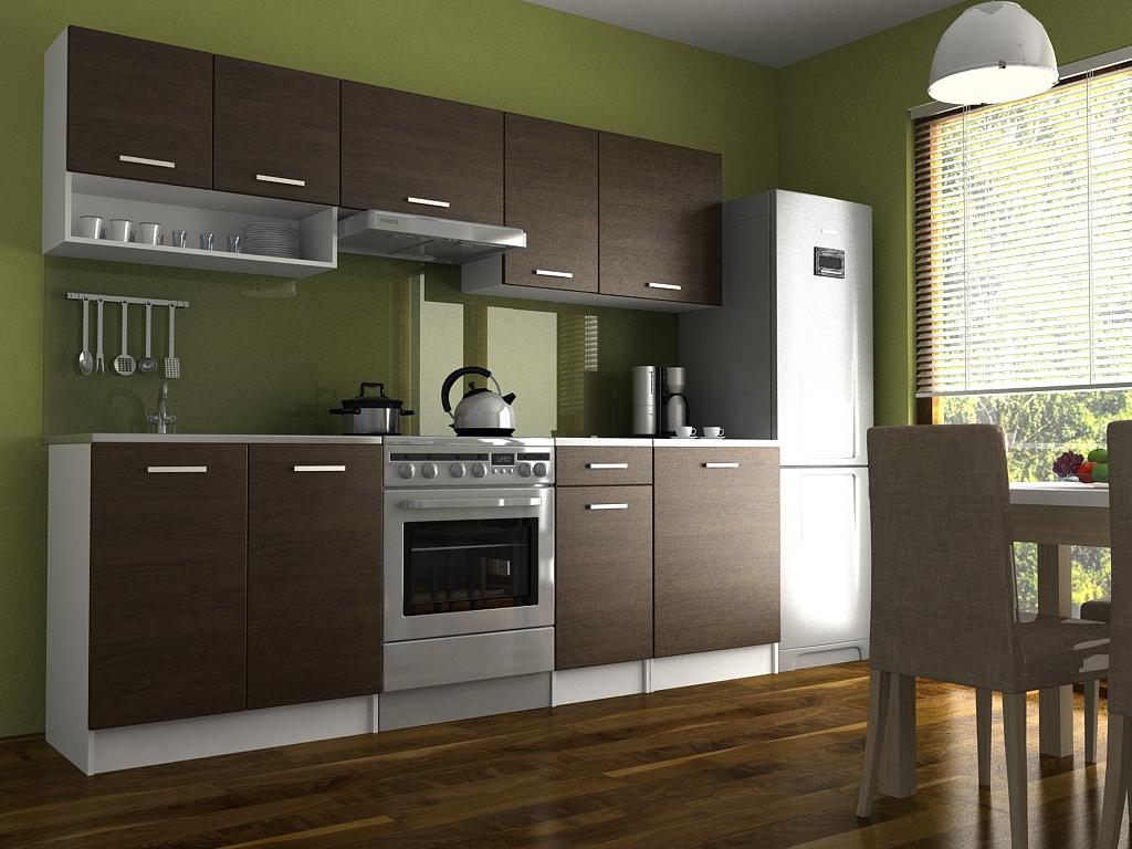 Moderní kuchyňská linka s poličkou v dekoru dub wenge 240 cm F1427