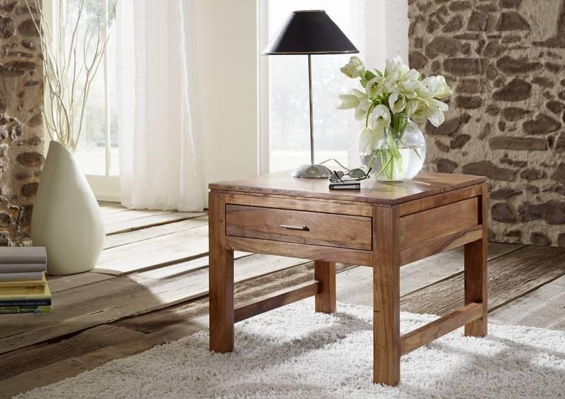 Masiv24 - KOLINS příruční stolek se šuplíkem, akát, medová