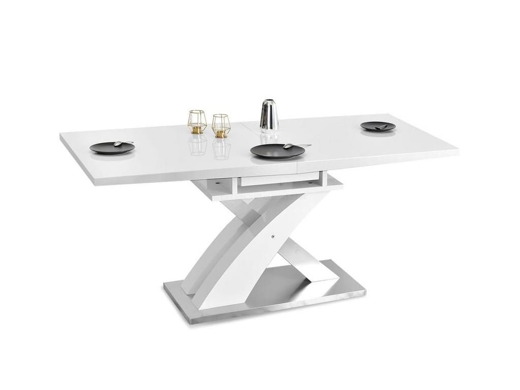 design4life Futuristický jídelní stůl SONO bílá lesk, ocel