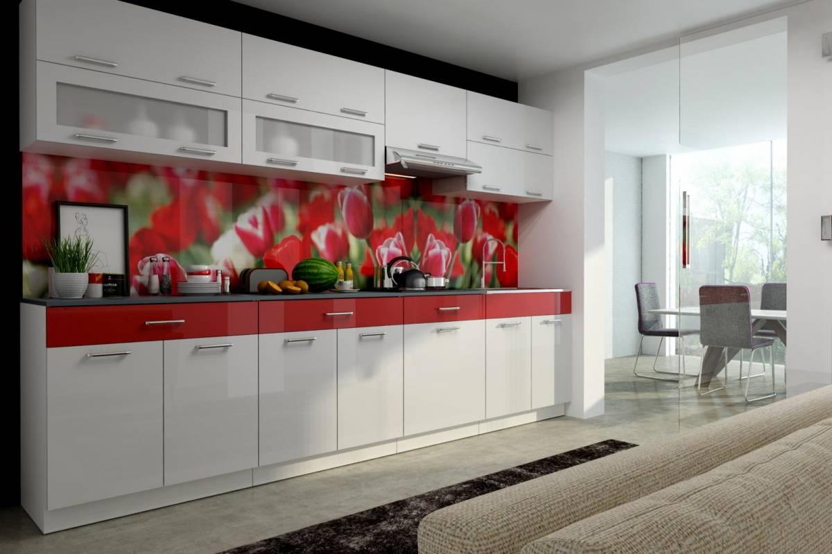 Kuchyňská linka 300 cm v kombinaci bílý a červený lesk F3016