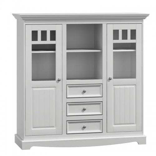 Bílý nábytek Prostorná vitrína Belluno Ellegante 2.2.3, bílá, masiv, borovice 232019118
